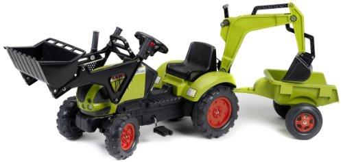Falk-Traktor-Trettraktor-Claas-mit-Anhnger-Schaufel-Heckbagger-0