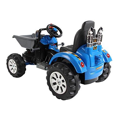 Homcom-Kinder-Kinderfahrzeug-Kindermotorrad-Elektromotorrad-Kinderauto-Elektroauto-Kindertraktor-Elektrotraktor-mit-Schaufel-Kindertraktor2Blau-0-1